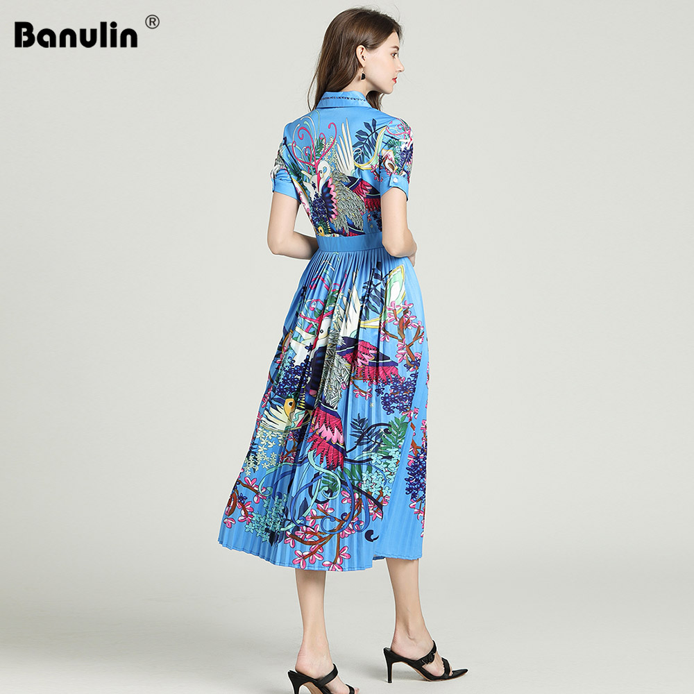 Image 3 - Banulin 2019 Runway Designer Autumn Dress Womens Short Sleeve  Casual Holiday Blue Floral Print Slim Pleated Elegant DressDresses   -
