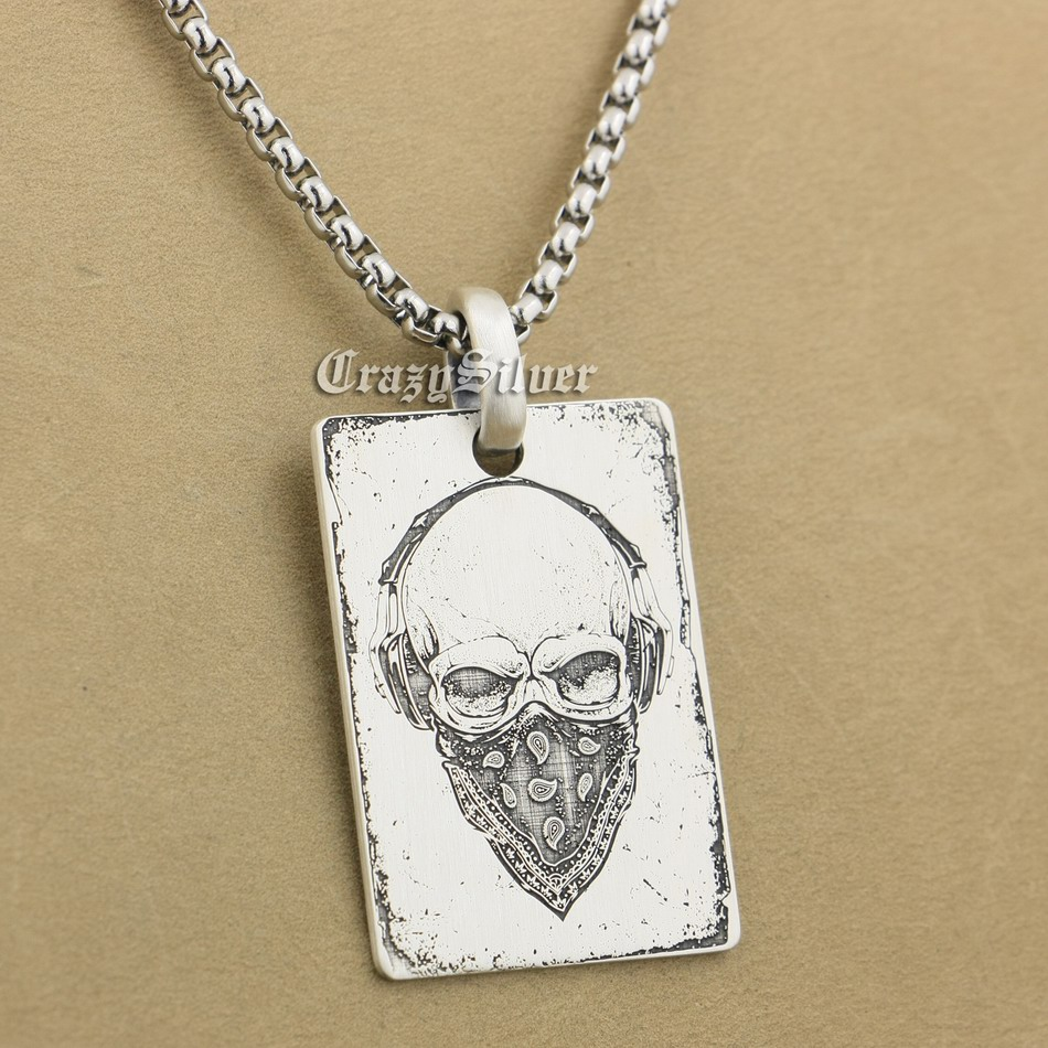 High Detail Deep Engraved Customizable 925 Sterling Silver Skull Dog Tag Mens Biker Rocker Punk Pendant 9X001 Steel Necklace 24 engraving service 316l stainless steel deep engraved skull cross mens biker rocker punk bangle cuff 5j122