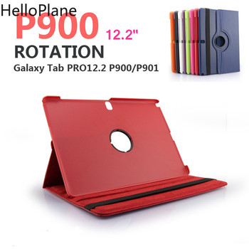 Dla Samsung Galaxy Tab uwaga Pro 12.2 cal P900 P901 P905 T900 SM-P900 etui na Tablet 360 obrotowy uchwyt odwróć skórzane etui z podstawką