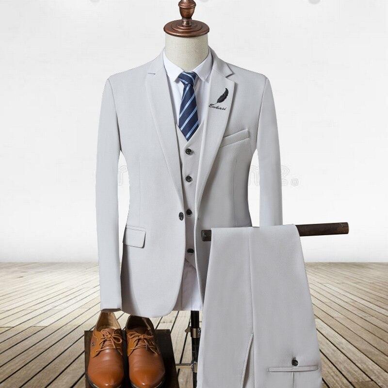 Новинка 2017 года Для мужчин S Костюмы белый Элитный бренд костюм Для мужчин смокинг партия Мужская одежда костюм комплект из 3 предметов Свад...
