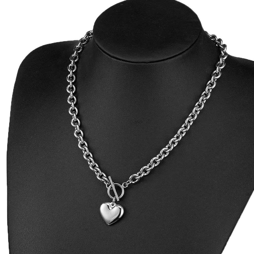 Granny Chic Customize Length 16-30 Inch Pendant Silver Oval Link Chain Necklace for Men Women Jewelry With Heart pattern