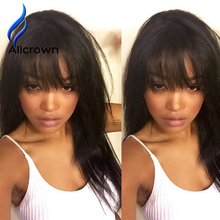 Full Lace Human Hair Wigs With Bangs Brazilian Virgin Full Lace Front Wigs With Baby Hair Human Hair Lace Wig Lace Frontal Wig