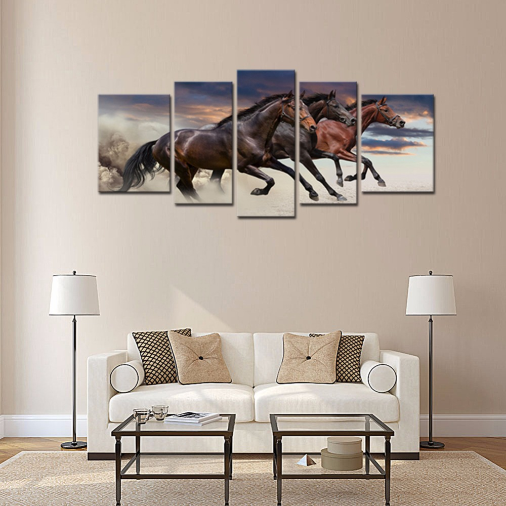 5 Panels Pferde Leinwand Gemälde Drei Feine Pferde Laufen Tier Bild ...