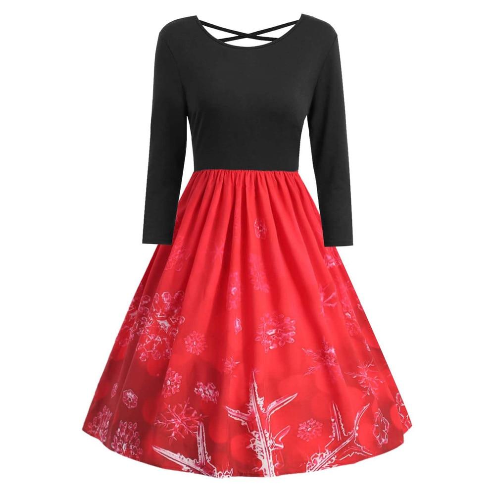 Vintage Women Christmas Print Long Sleeve Dresses