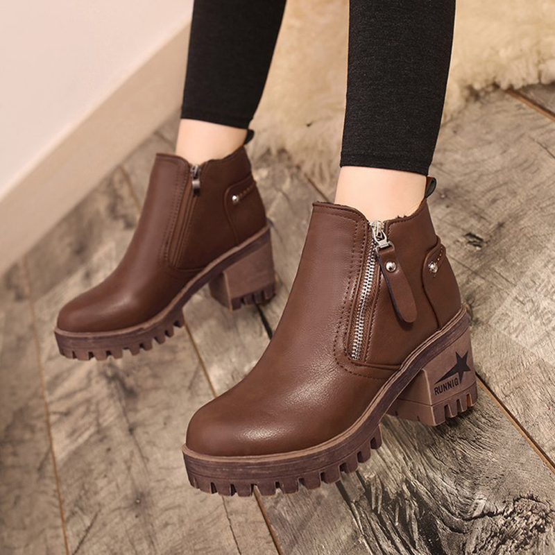 Alto Versátil Nuevas Martin Black Invierno Tobillo brown Felpa Caliente Mujer Ag455 Botines Las Tacón Botas Mujeres Señoras De Para Zapatos wxnnPFYqg
