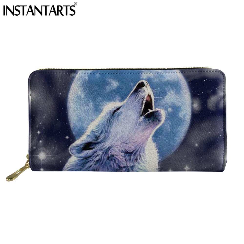 INSTANTARTS Wolf Moon Animal Women Wallets Money Card Holder Ladies Purse Female Zipper Clutch Leather Long Famous Design Purses
