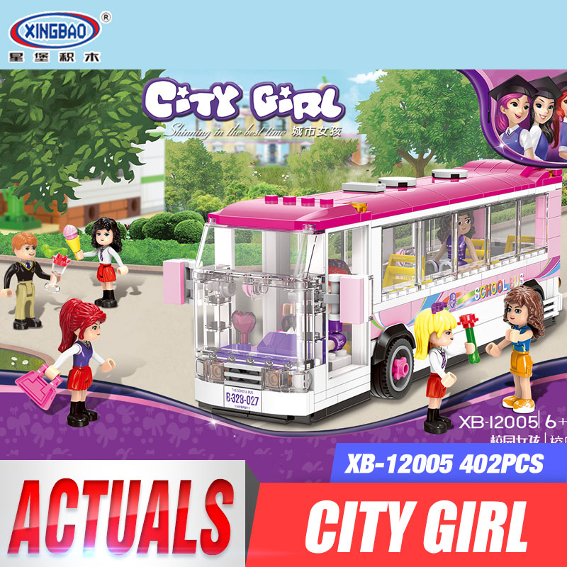 XINGBAO 12005 New 402Pcs City Girl Series The School Bus Set Building Blocks Bricks Educational Funny Toys Model For Kids Gifts lepin city town city square building blocks sets bricks kids model kids toys for children marvel compatible legoe