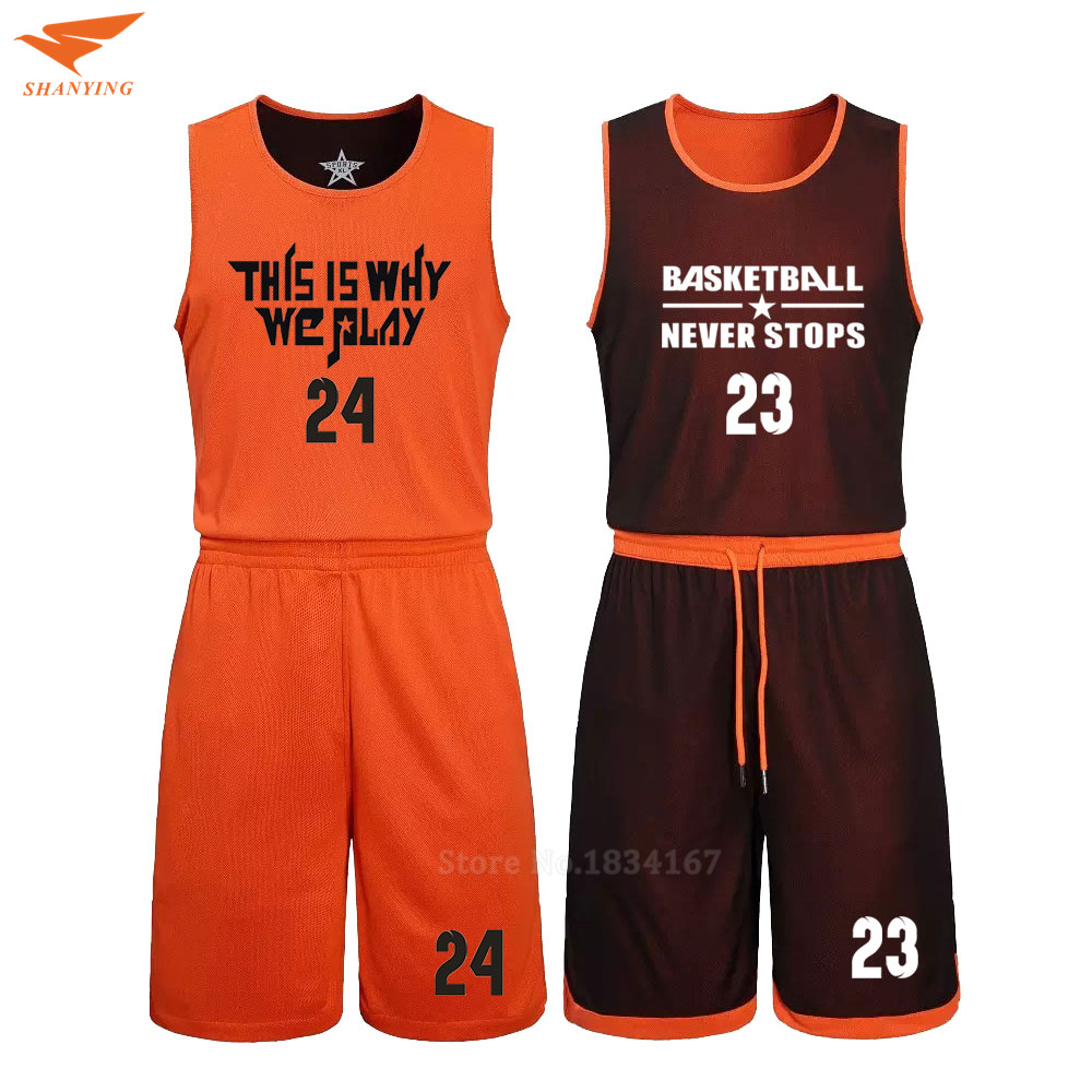 ba70a7ac8bd 2017 Men Reversible Basketball Set Uniforms Kits Sports Clothes Double-side Basketball  Jerseys DIY Customized Training Suits