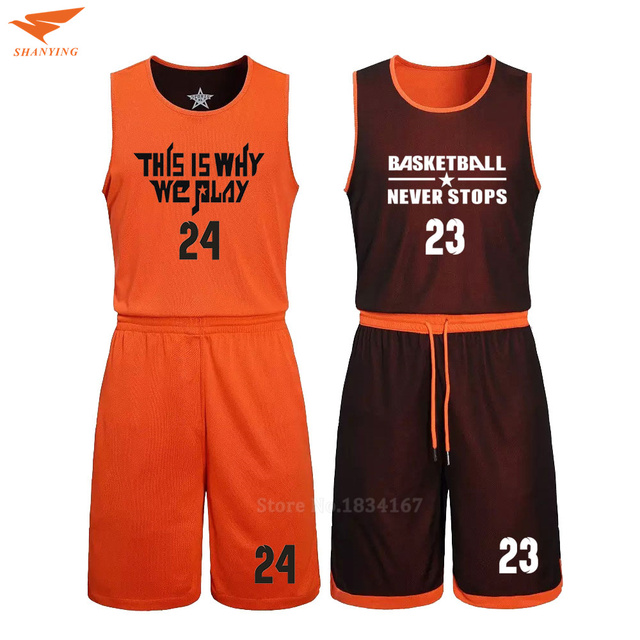 2017 Men Reversible Basketball Set Uniforms kits Sports clothes Double-side basketball jerseys DIY Customized Training suits