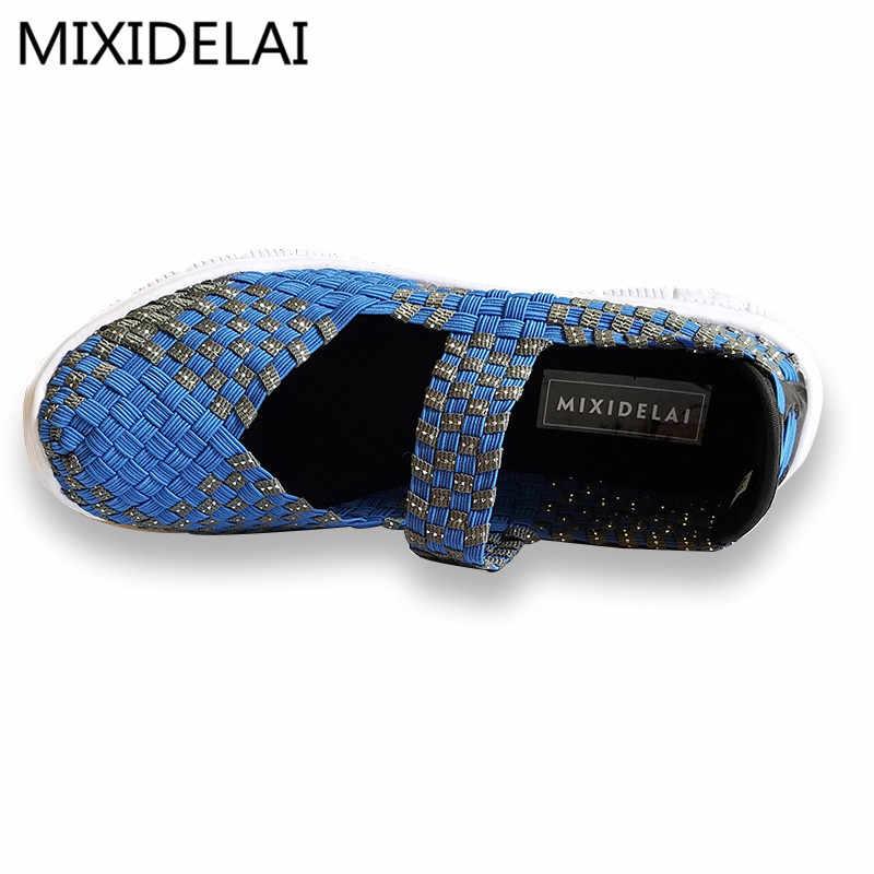 Mulheres Sapatos Casuais 2019 Novo Verão Respirável Mulheres Handmade Wovening Tecido Sapatos Da Moda Confortável Leve Sapatas Das Mulheres