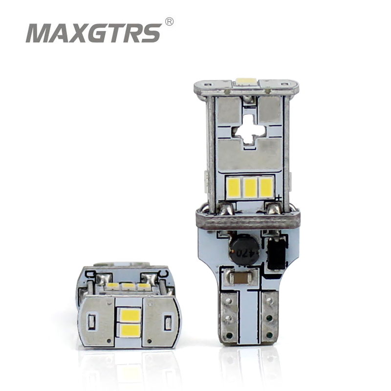 MAXGTRS 2x New Upgrade Extremely Bright T15 W16W Canbus SMD3020 912 921 White 4300K Car LED Back-up Light Auto Reverse Lamp Bulb 2 x error free super bright white led bulbs for backup reverse light 921 912 t15 w16w for peugeot 408