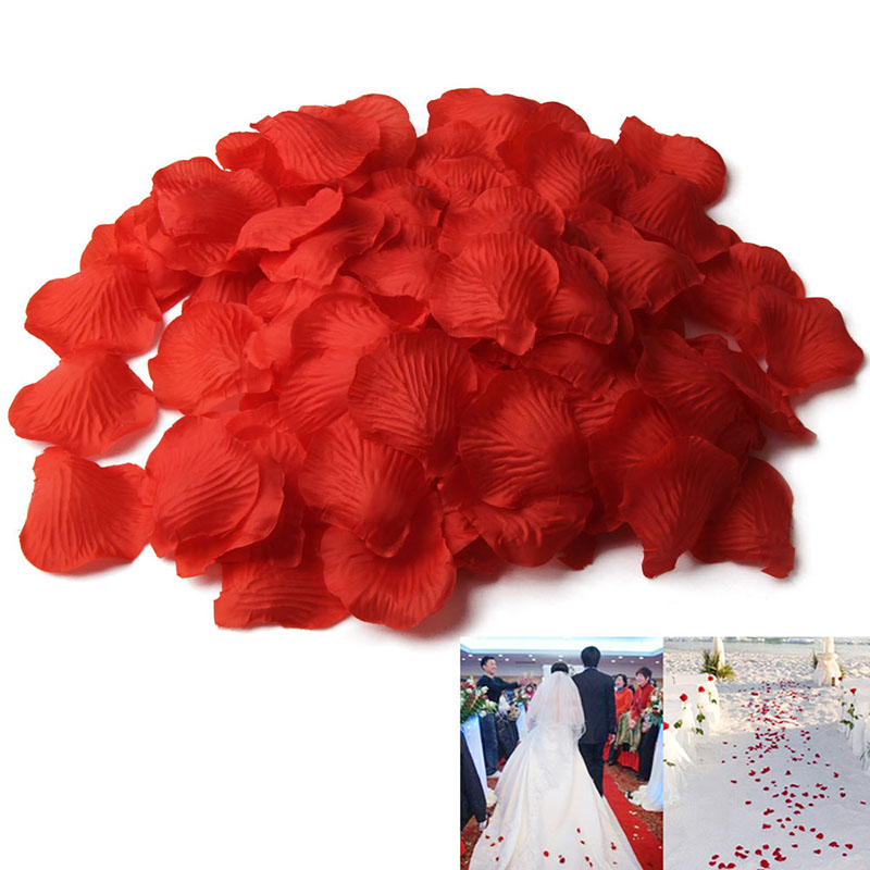 500Pcs/Lots Marriage Wedding Decor Accessories Simulation Silk Rose Petal Flower Petals For Valentine Party Decoration BH