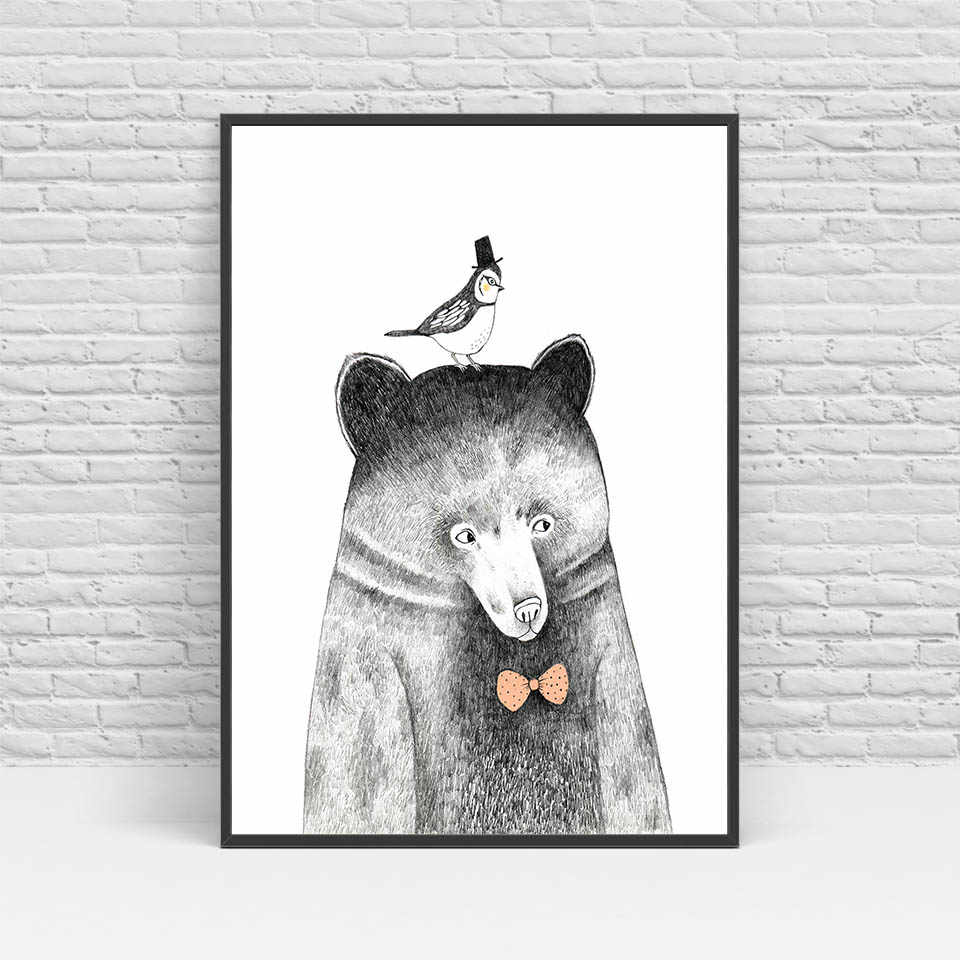 ArtSailing nordic cute animal canvas art Abstract Lion Beer Panda Poster painting Picture for Living Room modern Home decoration