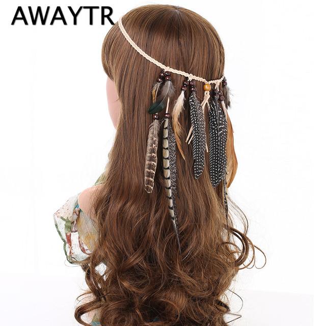 Feather Headband Women 2017 Festival Feather Headband Hippie Headdress Hair Accessories Boho Peacock Feather Headdress