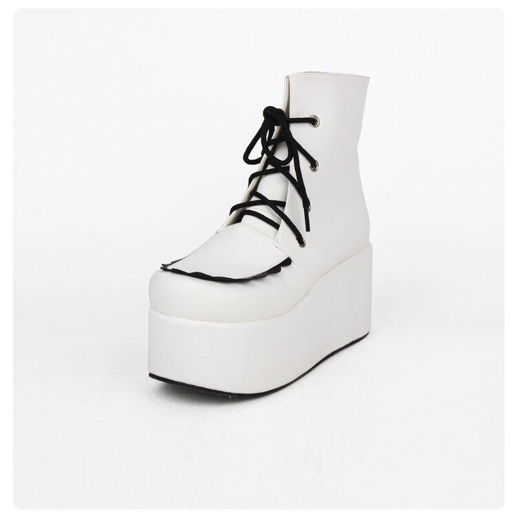 up Plataforma Botas Señora Invierno Inferiores Punk Beige Mujer Botines Gruesos La Otoño Lace De Zapatos Cuero Moda Blanco OnBUx0