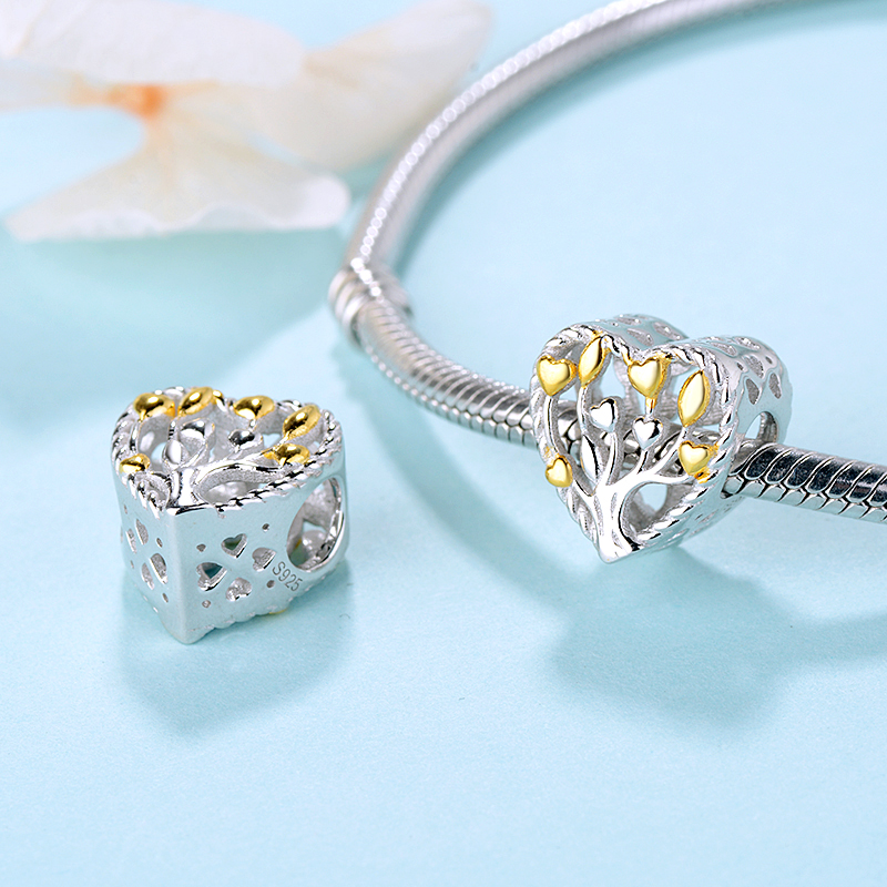 Original 100 925 Sterling Silver Charm Bead Pendant Heart Charms Tree of Life Fit Bracelets Women DIY Jewelry gift in Beads from Jewelry Accessories