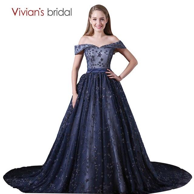 Bola Gaun Malam Gaun Dark Navy Blue Off Bahu Strapless Renda Prom