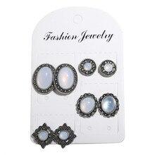 4 Pairs/Set Boho Earrings for Women Simple Earring Female Vintage Jewelry Stud Set