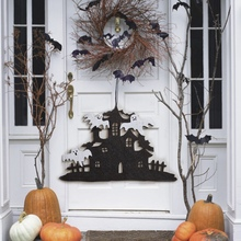 1pc Halloween Ghost Non-Woven Fabric Hanging Wall Black Haunted House And White Decoration Party Decorations