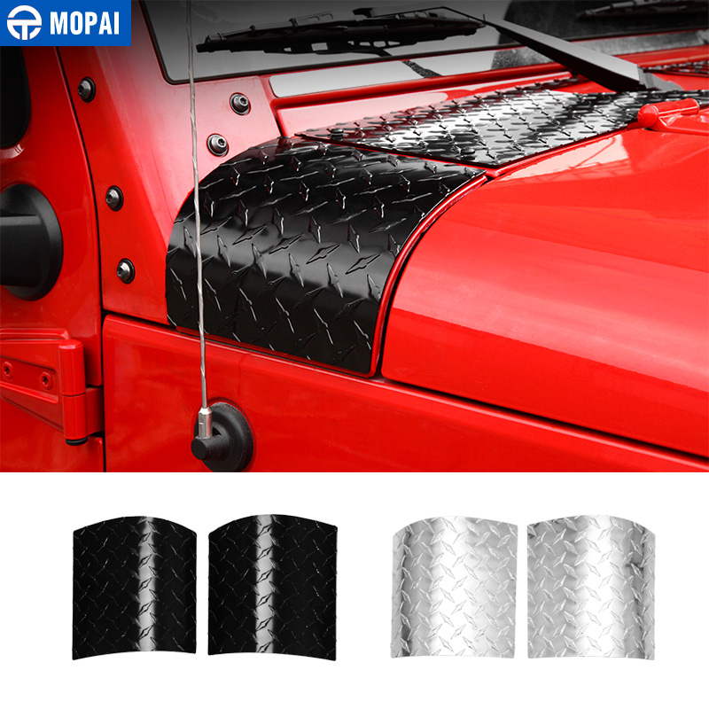 MOPAI couvercle de moteur autocollants pour voiture pour Jeep Wrangler JK 2007-2017 Capot De Voiture Angle Wrap Couvre pour Jeep JK Wrangler Accessoires