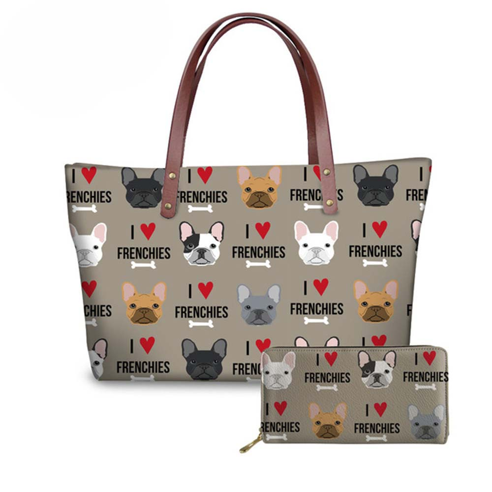 NOISYDESIGNS Top-handle Bags for Women 2018 French Bulldog Printing Luxury Handbags Designer Wallets and Shoulder Bag