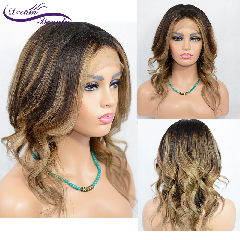 Lace Front Human Hair Wig 13x6 Deep Part Ombre Highlights Color Pre Plucked With Baby Hair