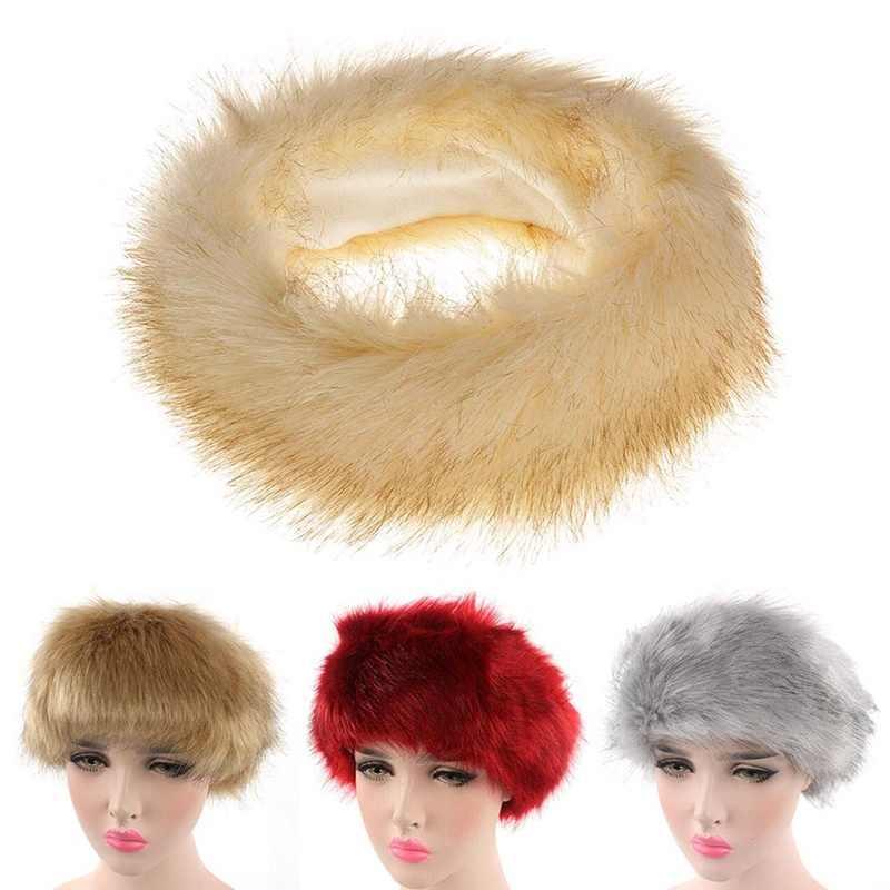 be616501e7d Winter Fur Warm Headband Fox Fur Hat Faux Fur Head Warmer Women s Ear  Warmer Earmuff Turban