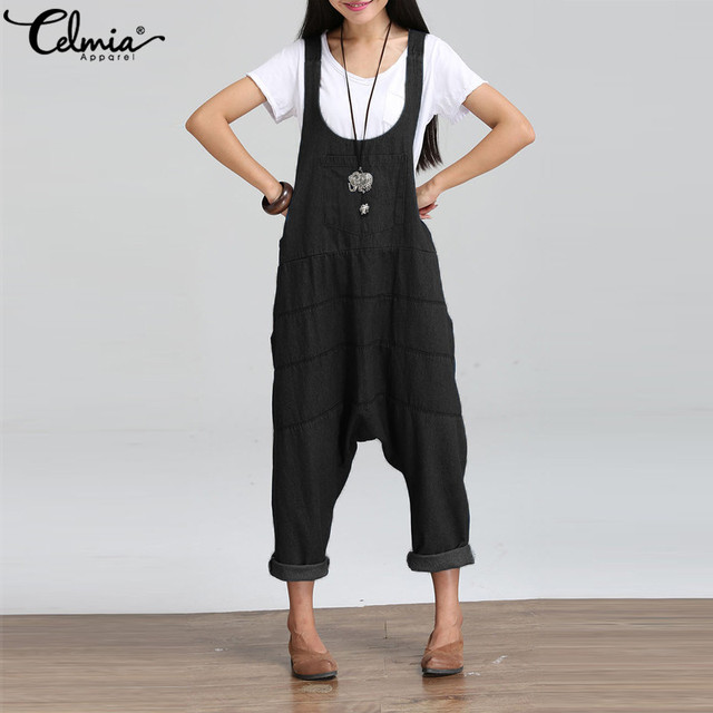 c6d719aa1e2 Plus Size Celmia Rompers Women Jumpsuit Denim Oversize Overalls Solid  Sleeveless Pockets Harem Pants Casual Dungarees Playsuits