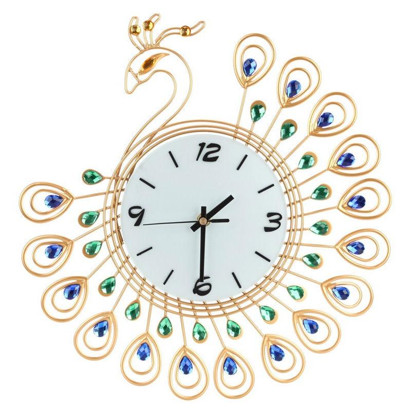 Diamond Design Wall Clock : Popular peacock wall clock buy cheap