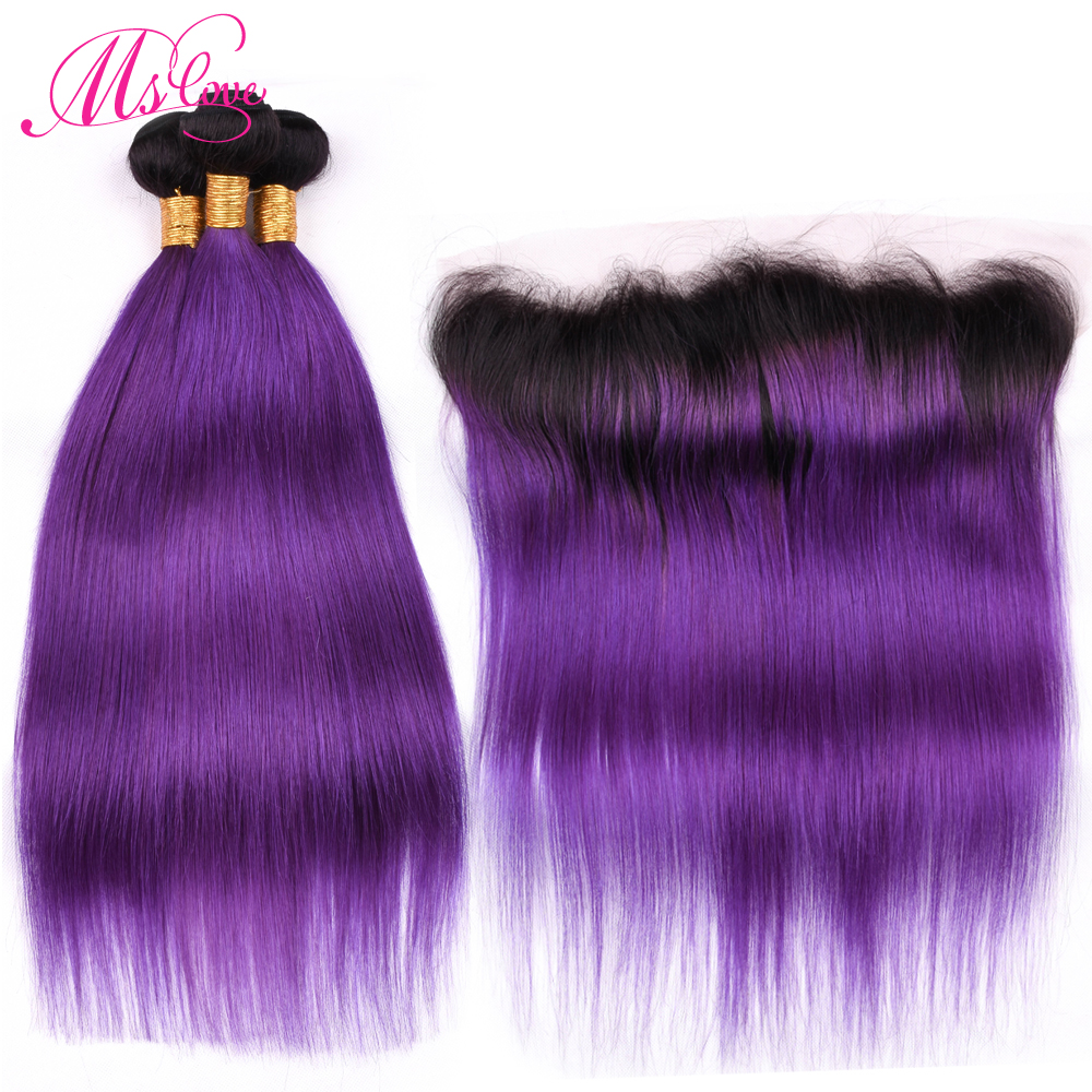 Ms Love Tb/Purple Ombre Hair Bundles With Lace Frontal Closure Straight Brazilian Hair Bundles With Frontal Remy Human Hair