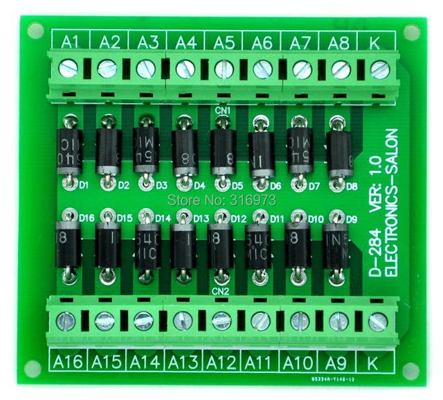 3 Amp 1000 V Cátodo Común 16 Diodo Módulo de Red, 1N5408.