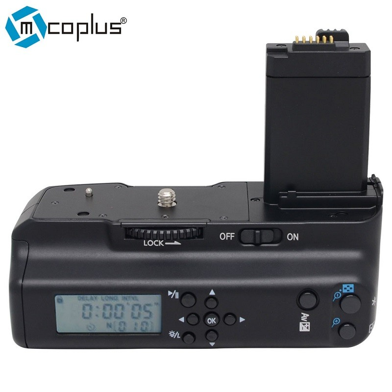 Mcoplus MeiKe LCD batterie support de prise en main pour Canon EOS appareil photo numérique rebelle T1i 450D 500D 1000D BG E5-in Extensions de batterie from Electronique    1