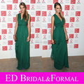 Cara Delevingne at Sidaction Gala Dinner Dress V Neck Emerald Green Evening Dress Chiffon Prom Gown vestido de festa longo