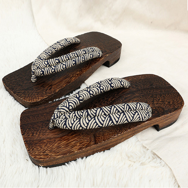 Us 2482 2018 Summer Sandals Japanese Geta Wooden Clogs Slippers Cosplay Mens Bench Geta Sandals Flat Heel Cosplay Flip Flops Shoe In Slippers From