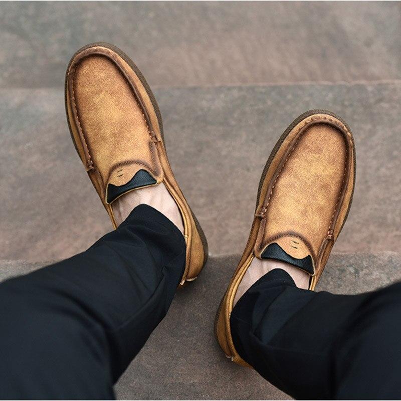 Chaussures Glissement Les 367 Véritable Hommes En Casual kaki Sur Cuir Luxe Mode De orange Mocassins Noir Hh 45OTvqv