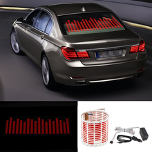 Niscarda Car LED Music Rhythm Flash Light Fire Red Sound Activated Sensor Equalizer Rear Windshield Sticker Styling Neon Lamp