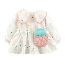 Infants Children's Dress Spring Girls Long Sleeve Princess Dress Big Pineapple Printed Dress Pink Yellow Kids Clothing