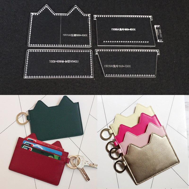 1 satz Leder Handwerk Handtasche Nähen Muster Acryl Schablone Template DIY handgemachte Kreditkarte Lagerung Tasche handwerk 11,5x9x1 cm