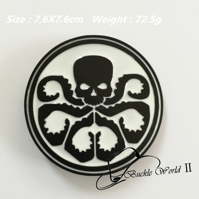 Retail New style 76mm 72.5g Round Cool 3D Black White Skull Metal belt buckle For Men Women Jeans accessories for 4cm Wide belt