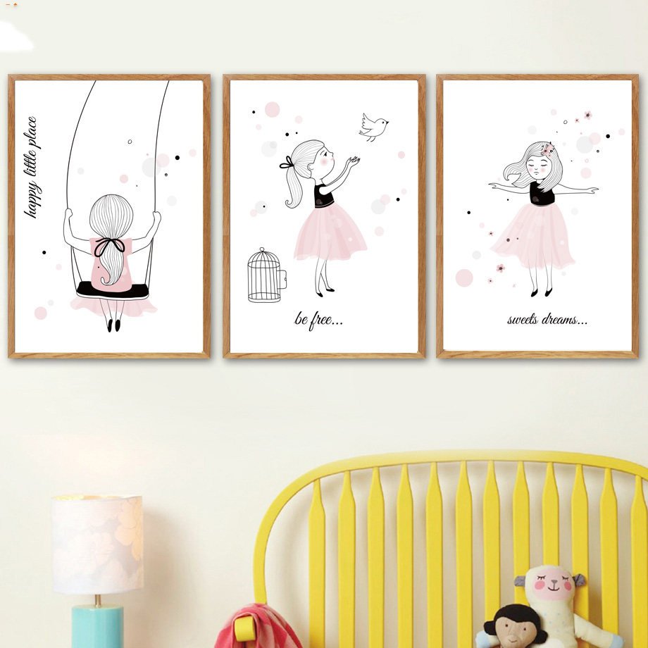 US $1 8 45% OFF|Nordic Posters Nursery HD Prints For Baby Room Cartoon  Little Girl Wall Art Canvas Painting Picture Kids Bedroom Decoration-in