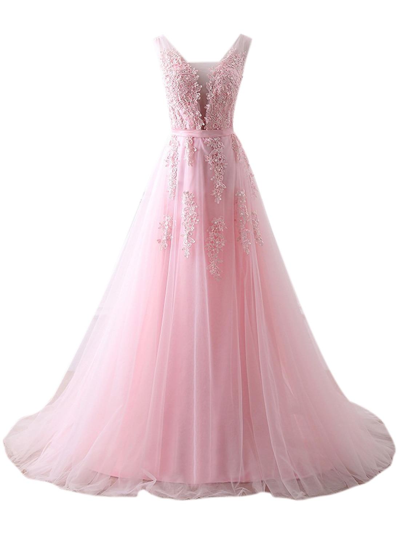 Appliques dentelle robes de bal 2019 longue rose grande taille robe de soirée pour les femmes Vestidos Cerimonia Junior robes de Graduation - 5