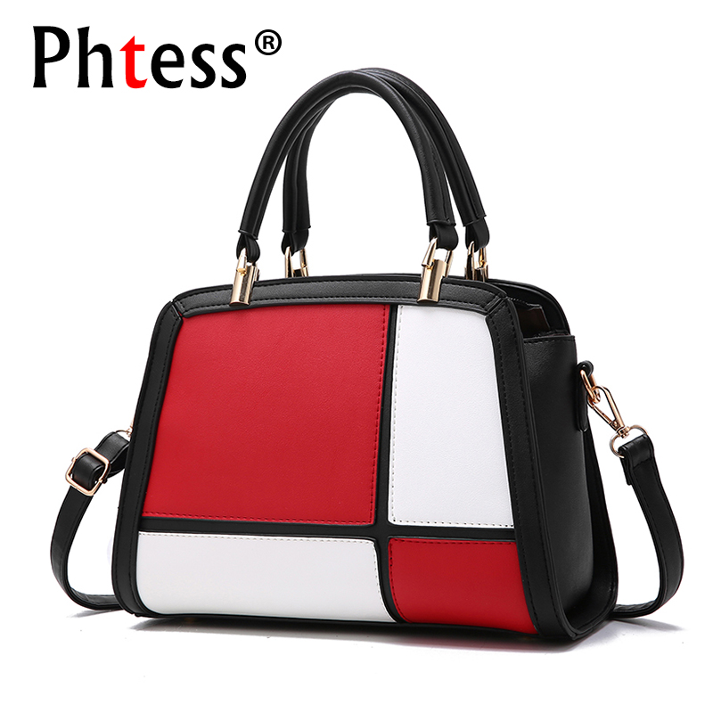 Panelled Women Leather Handbags Luxury Brand Bags Ladies Hand Sac a Main Patchwork Designer Female Shoulder Tote Bags Bolsos fashion luxury handbags women leather composite bags designer crossbody bags ladies tote ba women shoulder bag sac a maing for