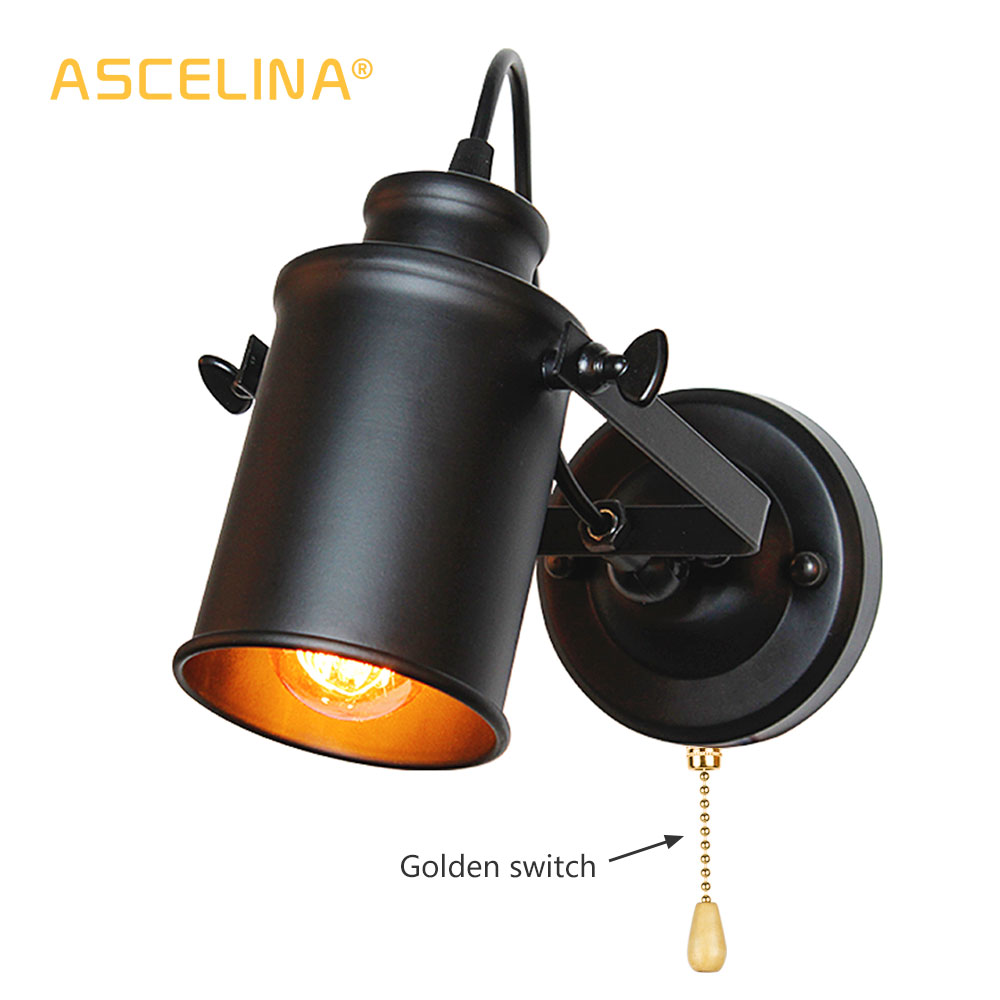 Industrial Wall Lamp Vintage Wall Lights With Pull Chain Switch Handy Retro Sconce Loft American Country Led Wall Light Fixture