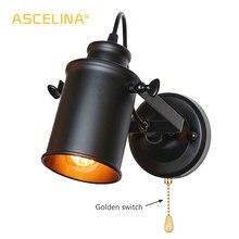 الصناعية الجدار مصباح خمر أضواء الجدار مع سحب سلسلة التبديل مفيد الرجعية الشمعدان لوفت البلاد الأمريكي وحدة إضاءة LED جداريّة تركيب المصابيح