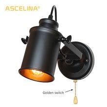 Lámpara de pared Industrial, lámparas clásicas de pared con interruptor de cadena de tracción, práctico aplique Retro Para Loft, lámpara de luz led de país americano