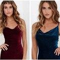 Alta calidad atractiva de las mujeres de moda otoño correa de espagueti mangas para celebraciones y fiestas la media túnica de terciopelo velvet dress