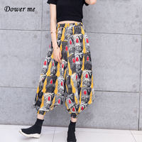 Women Fashion Cartoon Harem Pants Casual BF Style Ladies Trousers Ladies Vintage Loose Slacks MB115