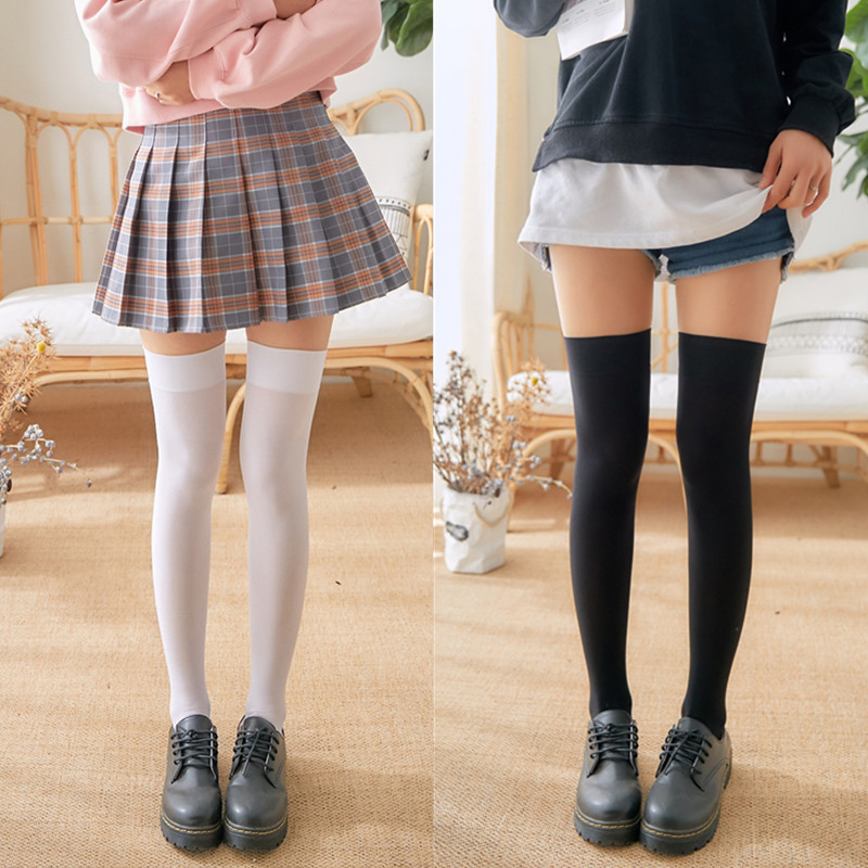 1Pair Mini Women Girls Fashion School Student SocksSpring Summer Opaque Over Knee Thigh High Elastic Sexy Stockings Black/white