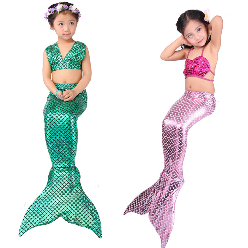 Girl Cosplay Mermaid Tail custome Swimmable Bikini Set Sexy Bathing Suit Christmas Baby girl kids Mermaid Tail fancy green Dress