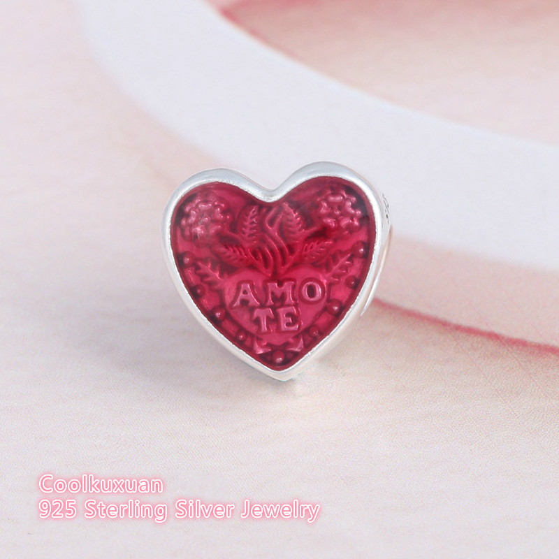 Cerise Enamel Latin Love Heart Beads For Jewelry Making Original 925 Sterling Silver Fits Pandora bracelets Valentine Gift(China)